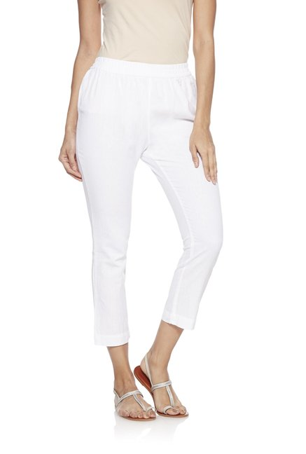Utsa by Westside White Slim Fit Cropped Pants