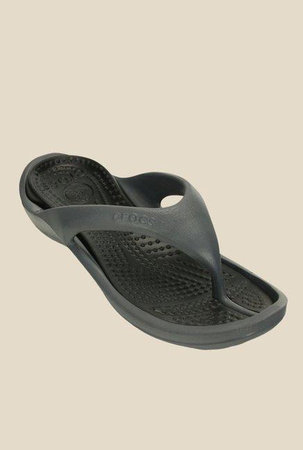 b3f985c5a Buy Crocs Athens II Charcoal Grey   Black Flip Flops for Women at Best  Price   Tata CLiQ