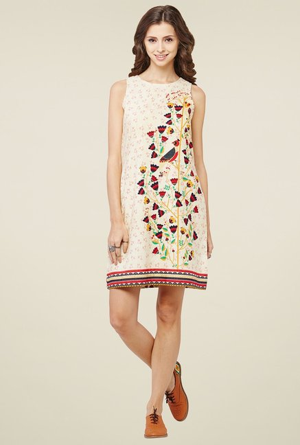 Global Desi Beige Sleeveless Shift Dress
