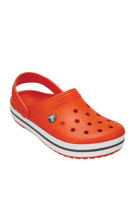 d54c2d938ff9 Buy Crocs Crocband Tangerine   White Back Strap Clogs for Men at Best Price    Tata CLiQ