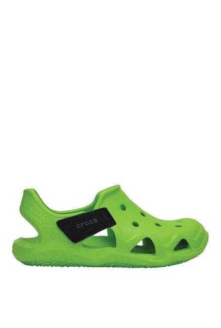 520cb245d7771e Buy Crocs Kids Swiftwater Wave Volt Green   Black Casual Sandals for ...