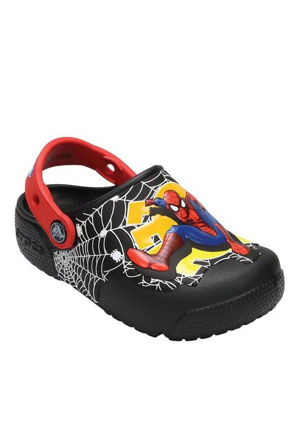 10e32d1fa0d730 Buy Crocs Kids FunLab Lights Spiderman Black   Red Back Strap Clogs at Best  Price   Tata CLiQ