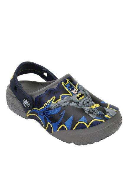 ad7200325e4d1b Buy Crocs Kids FunLab Batman Smoke Grey   Blue Back Strap Clogs ...