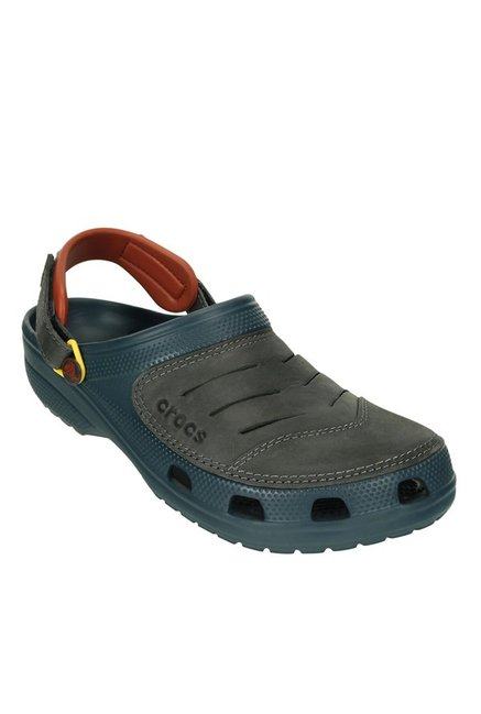 da7ab2363 Buy Crocs Yukon Graphite   Nightfall Blue Back Strap Clogs for Men ...