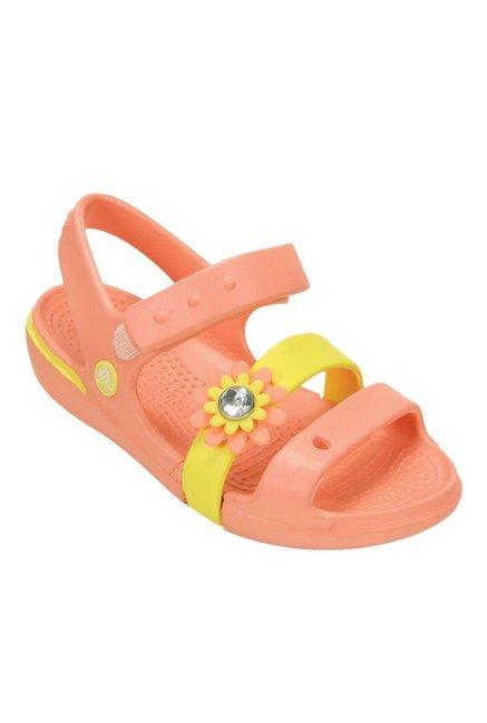 Buy Crocs Kids Keeley Petal Charm PS Melon   Yellow Floater Sandals at Best  Price   Tata CLiQ 43ca6f6e75