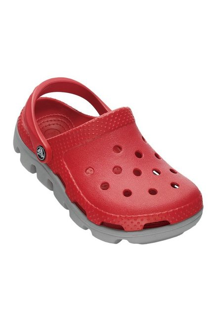 ae5a500baca5 Buy Crocs Kids Duet Sport Red   Light Grey Back Strap Clogs for ...