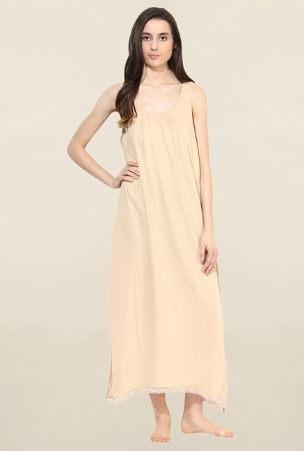 Red Rose Beige Solid Nighty