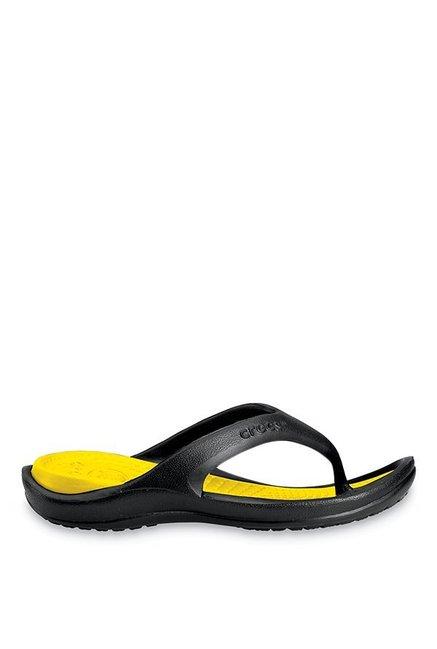 5b9436779b1e Buy Crocs Athens II Black   Yellow Flip Flops for Men at Best Price ...
