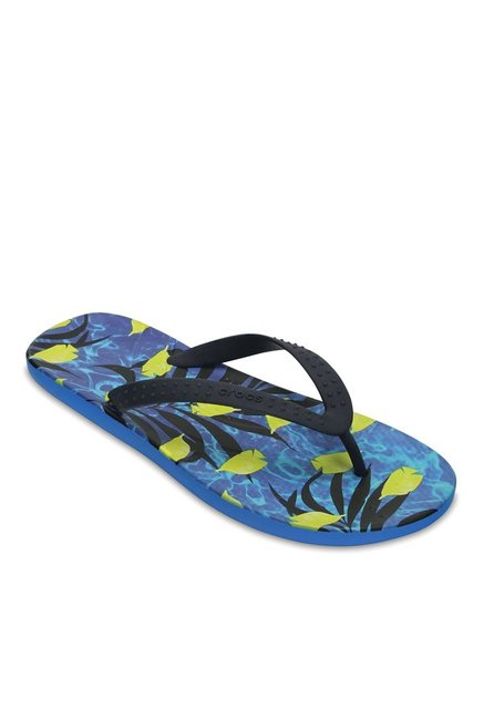d995d2fe95b3 Buy Crocs Chawaii Fish Black   Ocean Blue Flip Flops for Men at Best ...
