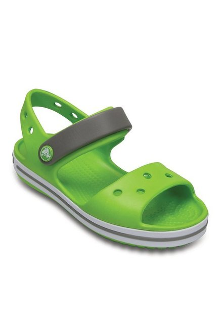 732e9fe1fd62b Buy Crocs Kids Crocband Volt Green   Smoke Grey Floater Sandals for ...