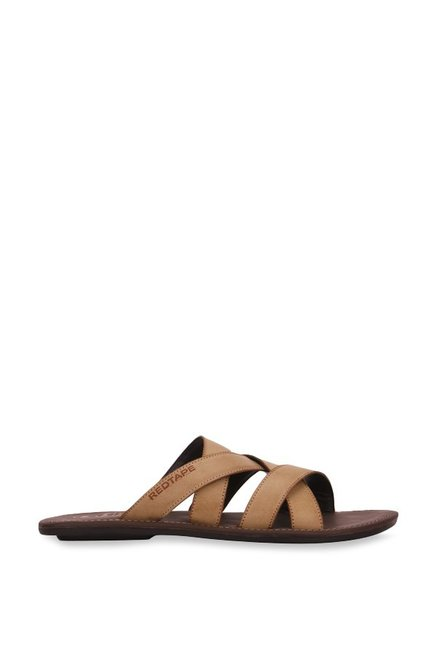Red Tape Dark Beige Cross Strap Sandals