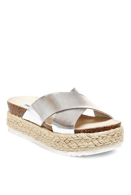 3681178e54a9 Buy Steve Madden Arran Silver Cross Strap Espadrille Sandals for Women at  Best Price   Tata CLiQ