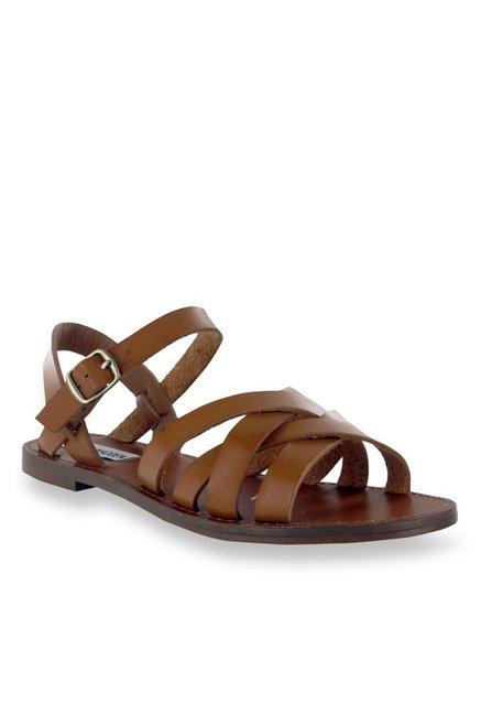 96dd46ebd8665 Buy Steve Madden Sweeti Cognac Ankle Strap Sandals for Women at Best Price    Tata CLiQ