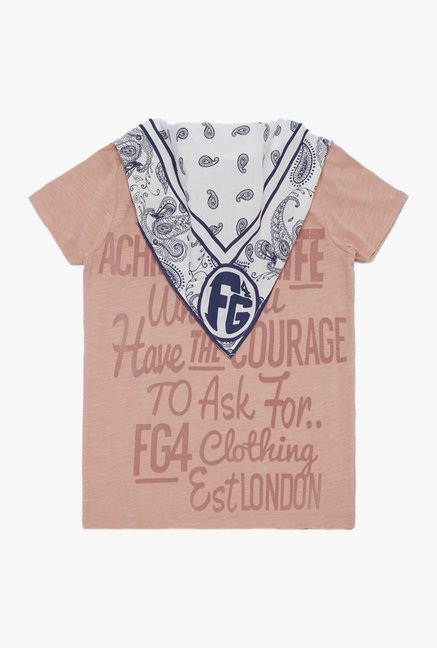FG4 London Kids Peach Message Print T Shirt With Bandana