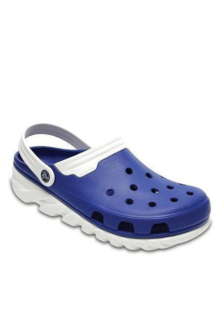 Crocs Duet Max Blue Jeans & White Back Strap Clogs