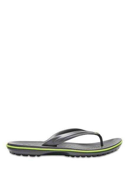 11fd3f1490aa Buy Crocs Crocband Graphite   Volt Green Flip Flops for Men at Best ...