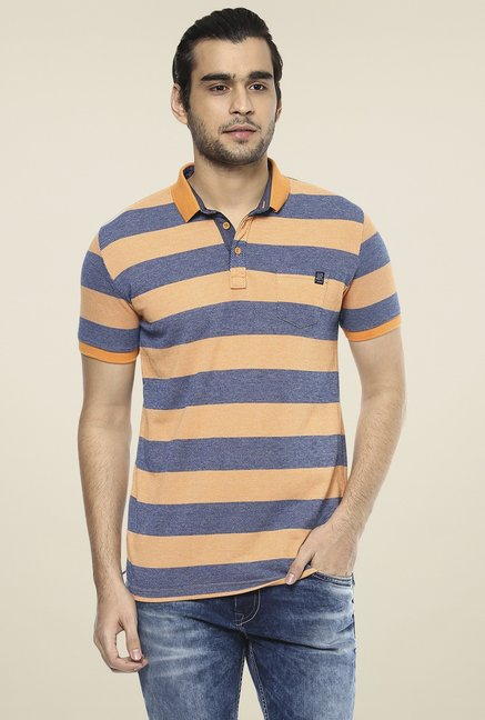 25e63744 Buy Mufti Orange Striped Slim Fit Polo T-Shirt for Men Online @ Tata CLiQ