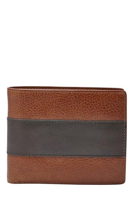 Fossil Cognac & Black Panelled Leather Bi-Fold Wallet