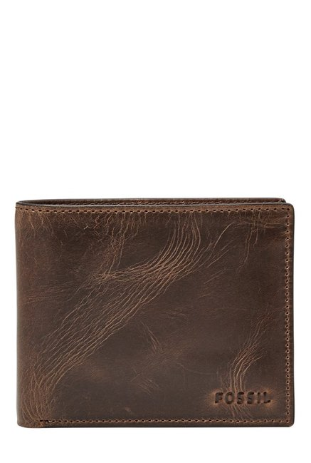 Fossil Dark Brown Distressed Leather Bi-Fold Wallet