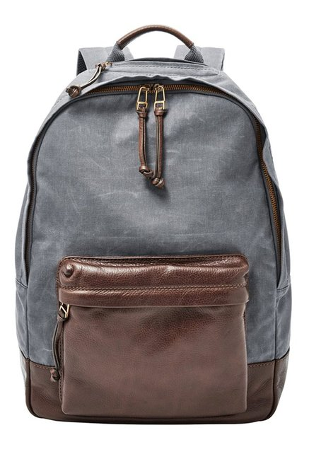 Fossil Defender Grey & Brown Solid Leather Backpack