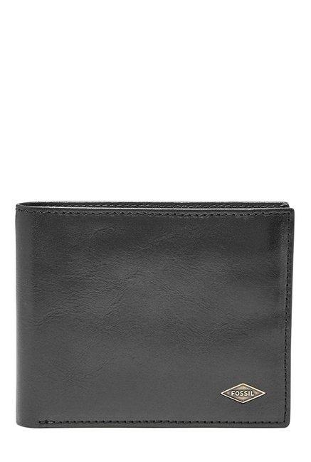 Fossil Black Solid Leather Bi-Fold Wallet
