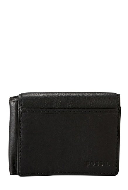 Fossil Black Solid Leather Bi-Fold Wallet