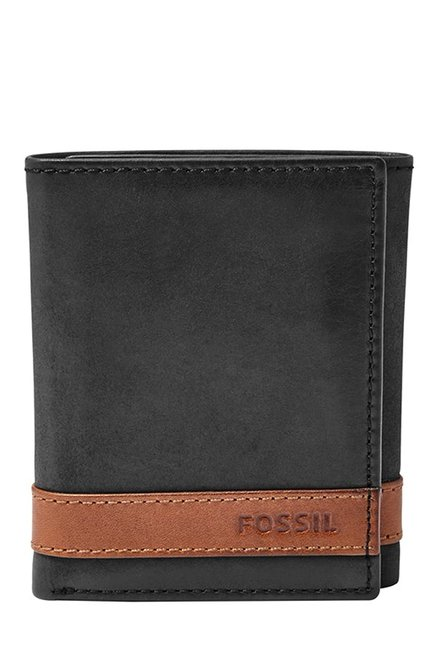 Fossil Black & Tan Panelled Leather Tri-Fold Wallet