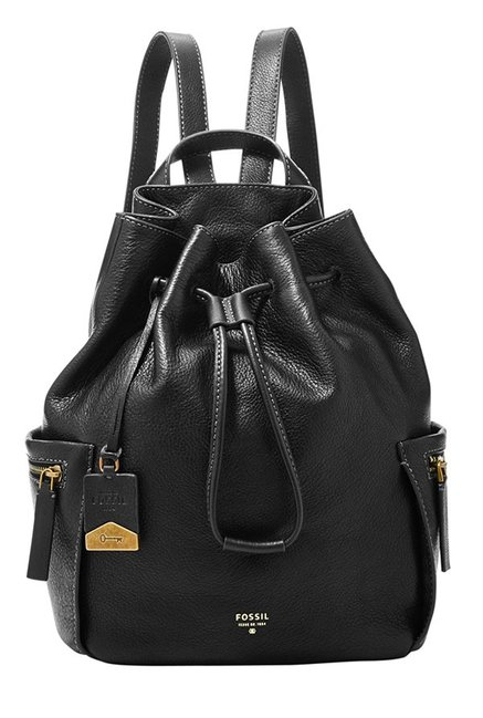 Fossil Vickery Black Solid Leather Backpack