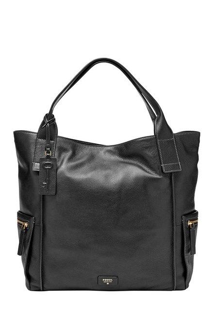 Fossil Black Solid Leather Shoulder Bag