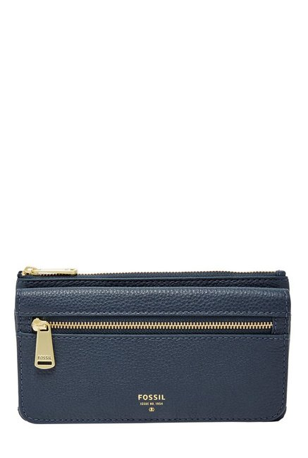 Fossil Navy Solid Leather Wallet