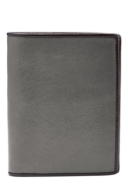 Fossil Grey Solid Leather Bi-Fold Wallet