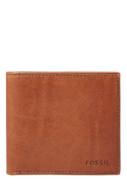 Fossil Cognac Solid Leather Bi-Fold Wallet