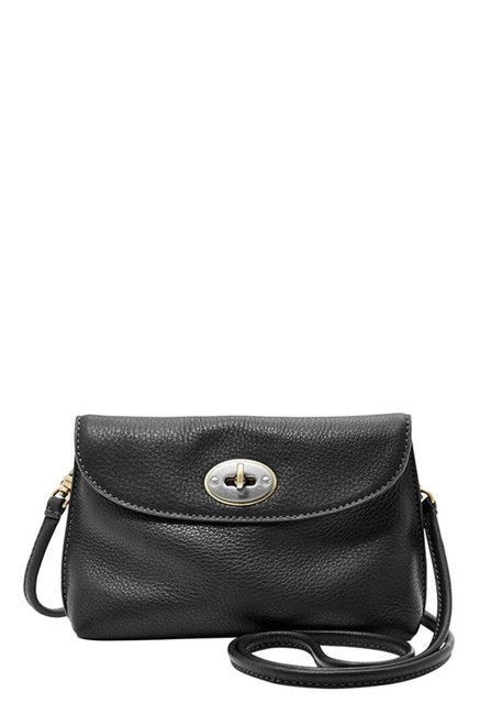 Fossil Black Solid Leather Sling Bag