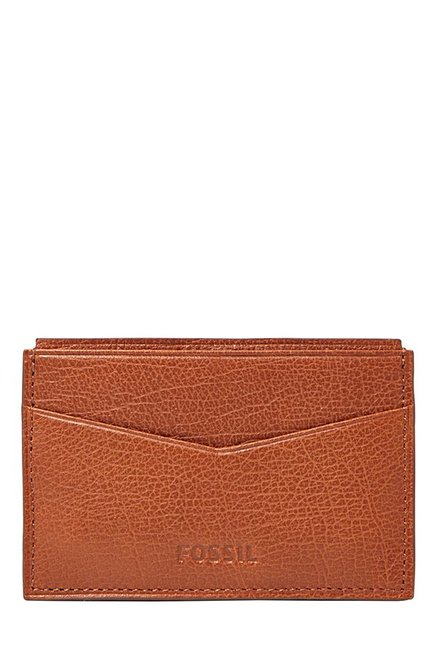 Fossil Tan Solid Leather Bi-Fold Wallet