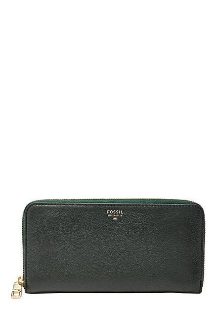 Fossil Dark Green Solid Leather Wallet