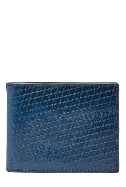 Fossil Blue Textured Leather Bi-Fold Wallet