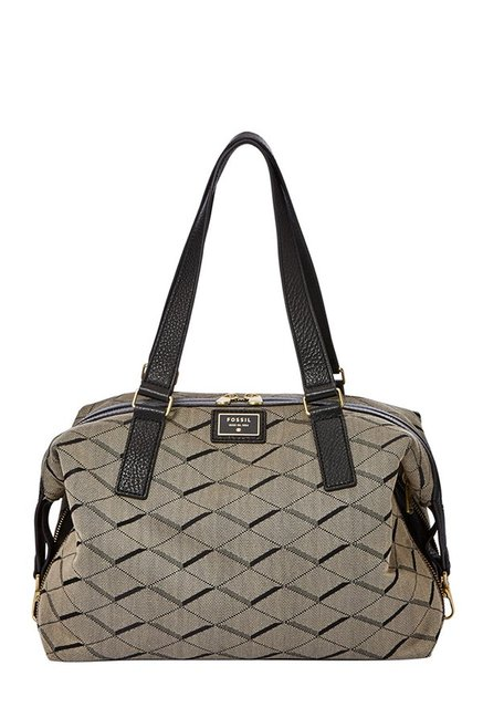 Fossil Grey & Black Printed Leather Bowler Bag