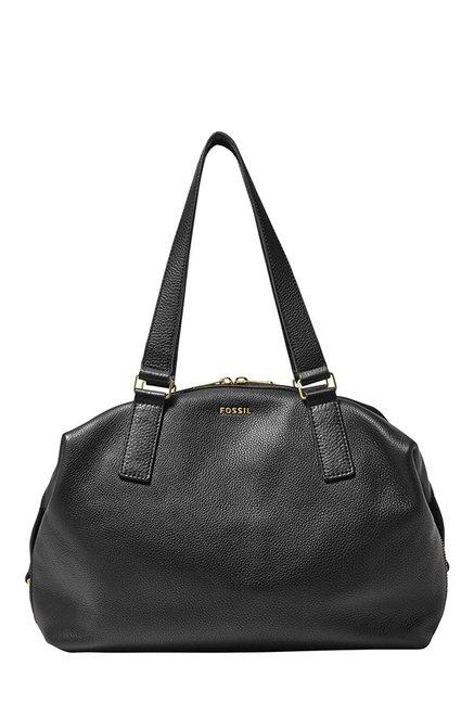 Fossil Black Solid Leather Bowler Bag