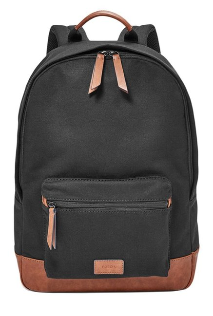 97a62d2db Buy Fossil Estate Black & Brown Solid Leather Backpack For Men At Best  Price @ Tata CLiQ