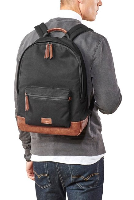 3db3c90173 Buy Fossil Estate Black   Brown Solid Leather Backpack For Men At ...
