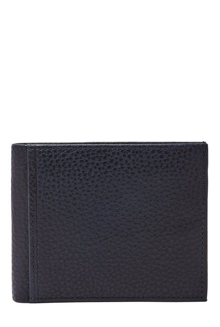Fossil Navy Solid Leather Bi-Fold Wallet