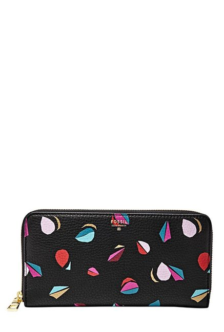 Fossil Black & Pink Printed Leather Wallet
