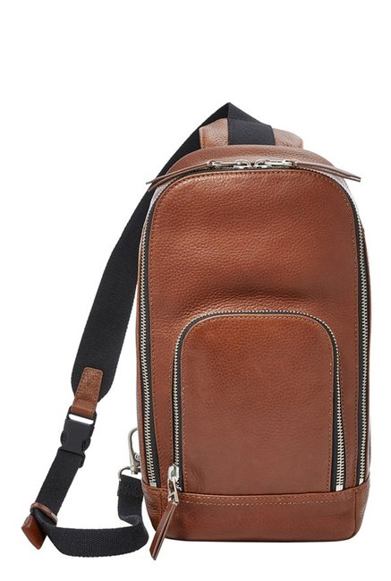 Fossil Mayfair Cognac Solid Leather Crossbody Bag
