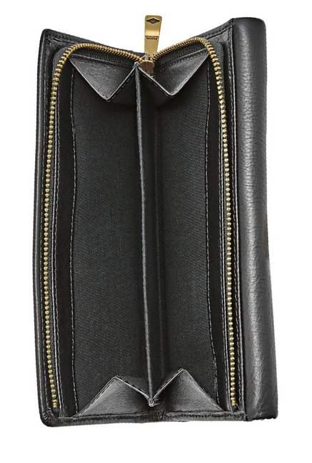 Fossil Black Solid Leather Tri-Fold Wallet