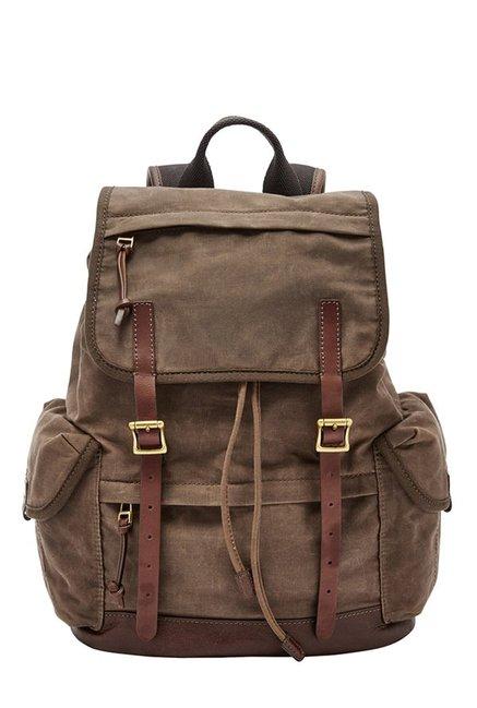 Fossil Defender Brown Solid Leather Backpack
