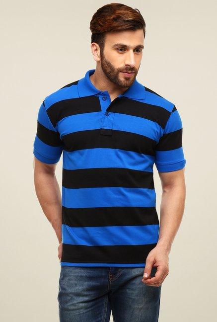 208497ba8 Buy Gritstones Blue   Black Striped Polo T-Shirt for Men Online   Tata CLiQ