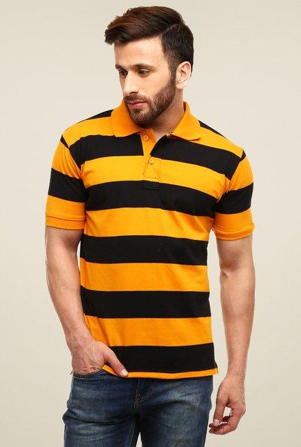 9167776327 Buy Gritstones Orange & Black Striped Polo T-Shirt for Men Online @ Tata  CLiQ