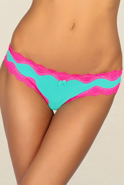 773acf6cadd Buy Candyskin Teal   Pink Lace Thong Panty for Women Online ...