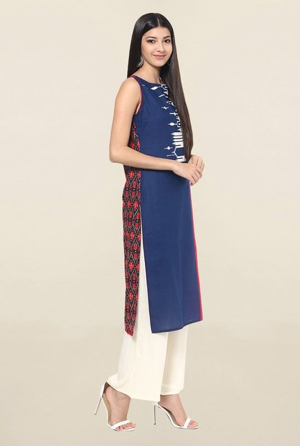 Jaipur Kurti Navy & Red Printed Cotton Kurta