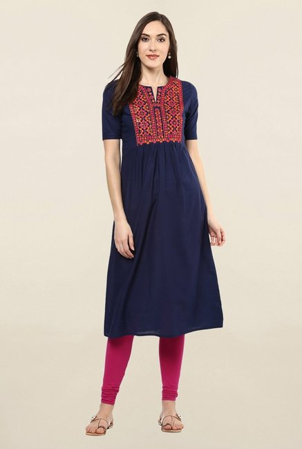 Jaipur Kurti Navy Embroidered Cotton Kurta